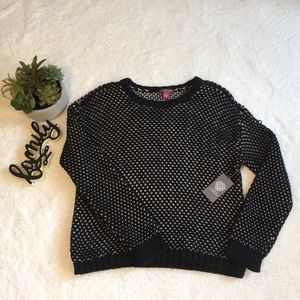 Vince Camuto Black & White Textured Stitch Sweater